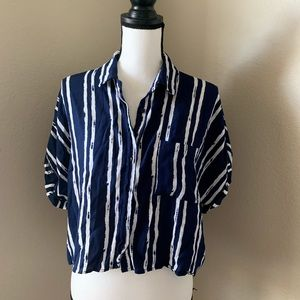 Forever 21 blue/white strips collared  top